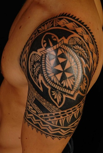 Samoan Pattern Tribal Arm Tattoos