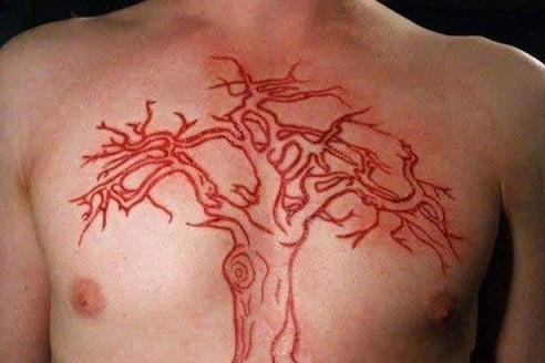 Scarred red tattoo design
