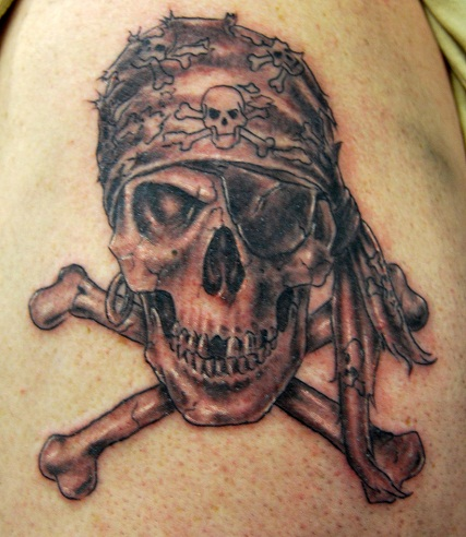 Scary Crossbones tattoo