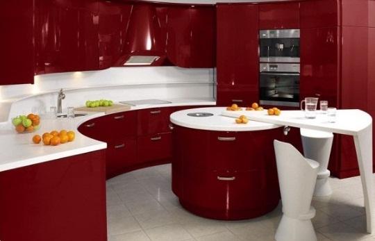 Semi-circular Modular kitchen design