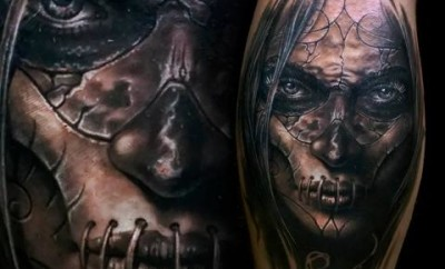 Sewed Face Macabre Tattoos
