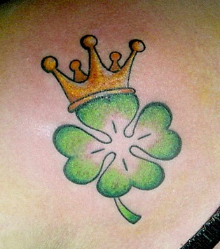 Shamrock flower with the crown tattoo design