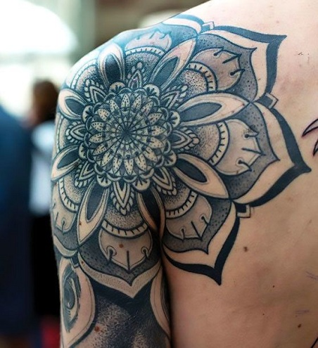 Shoulder Face Mandala Tattoo Designs