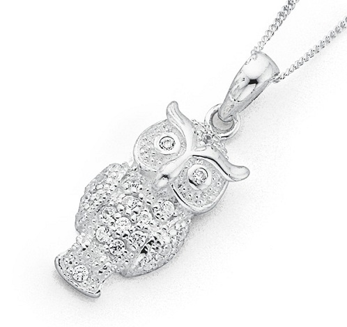 Silver Owl Locket Necklace