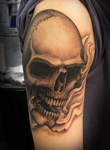 Skull Tattoo Design in Brown