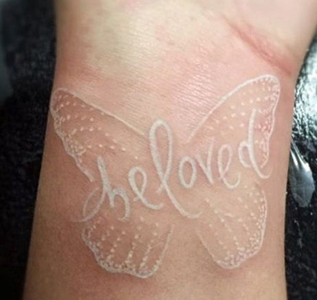 Small Butterfly white Tattoo Design