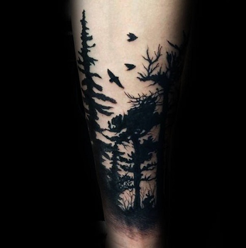 Solid Black Tree Tattoo Design
