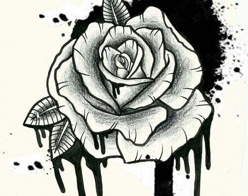 Spectacular Rose Tattoo Design in Gothic