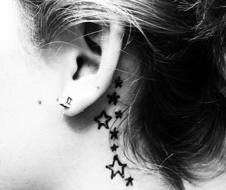 Top 15 Cute and Tiny Ear Tattoos With Images - Star Symbol Behind Your Ear Tattoo