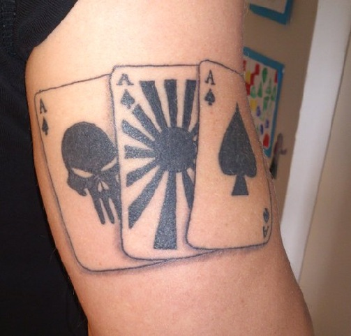 Three Aces Card Tattoo Design
