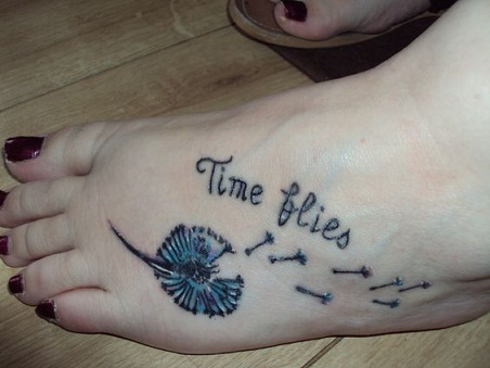 Time and dandelion tattoo