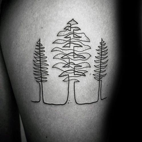 Tree Pattern Line Work Tattoo