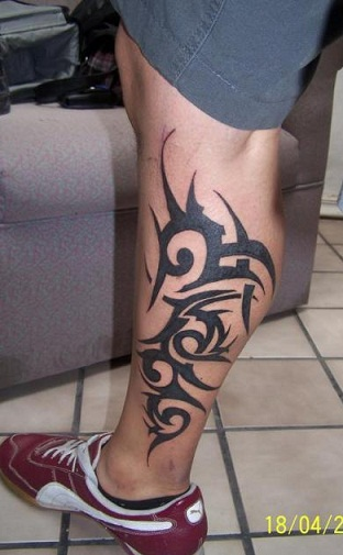 Tribal Calf Tattoo Design
