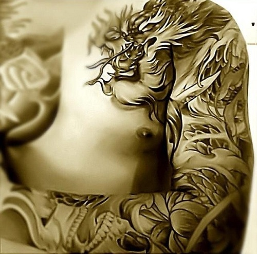 Tribal Dragon Design Arm Tattoo-3