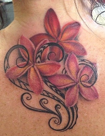 Tribal Flower Tattoo in Red Color