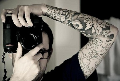 Tribal Flower Tattoo in Sleeve