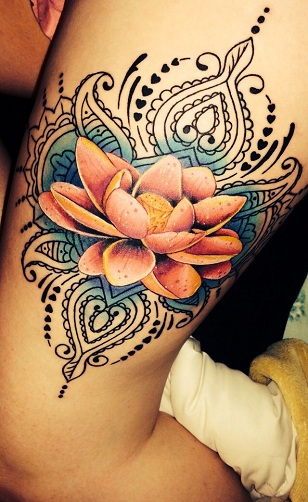 Tribal Lotus Flower Arm Tattoo