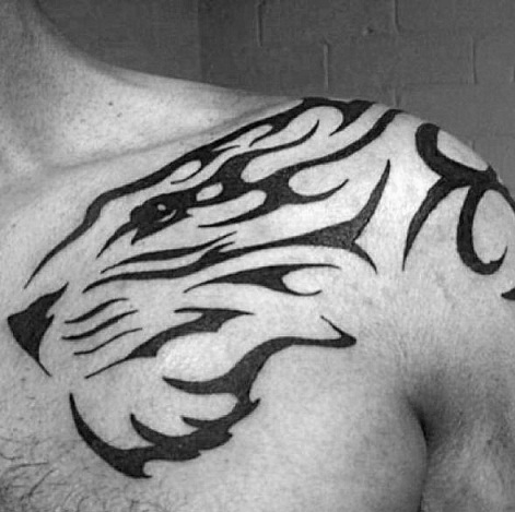 Tribal Tiger Strength Tattoo