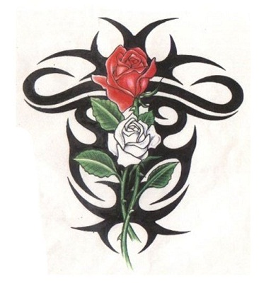 Tribal cross tattoo with rose design