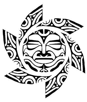 Tribe face inked tribal Sun tattoo