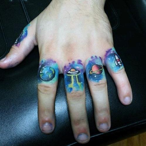 Universe Badass Tattoo Design for Fingers