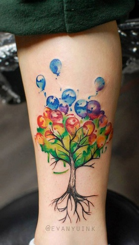 Unmatched Balloon Tattoo Design on Tree