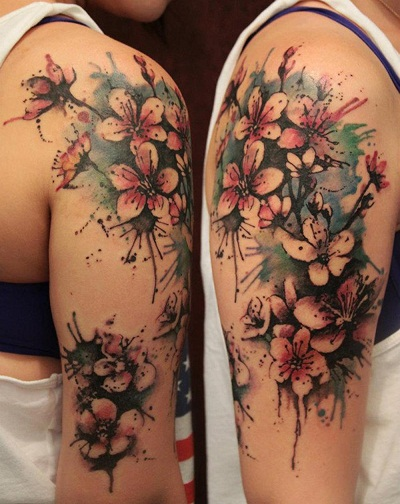 Watercolour special Tribal Flower Tattoo