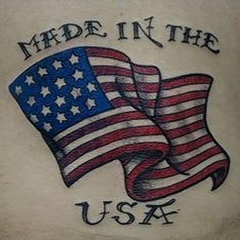 Wavy American Flag Tattoos