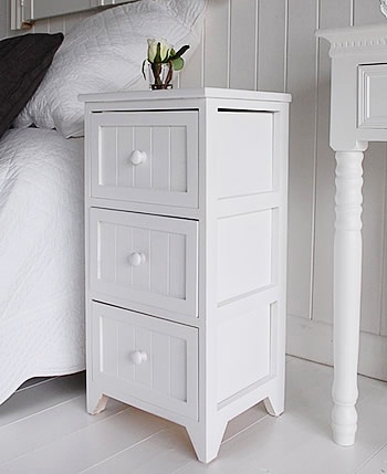 White Side Table with drawers