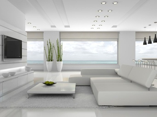 Whitish Contemporary Living Room