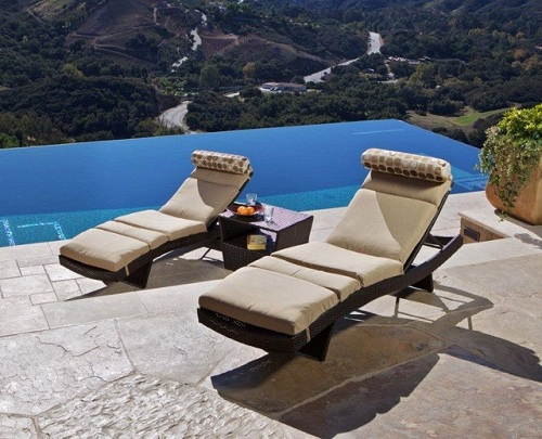 Wicker Lounge Pool Chairs