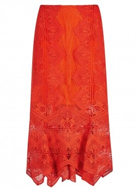 Women's Designer Red Long Skirt2