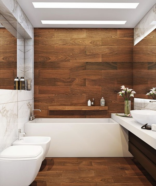 Wood and White Luxury Bathroom Designs