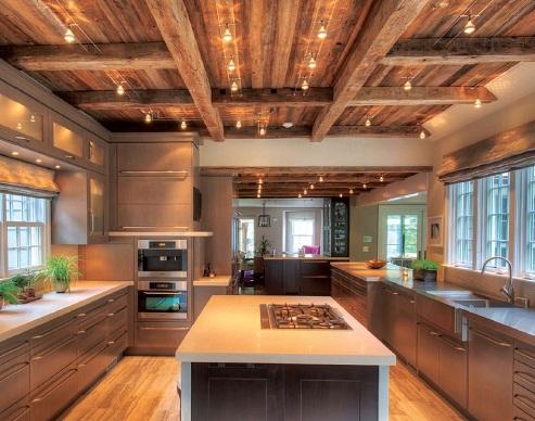 Wooden Ceiling Designed Kitchen