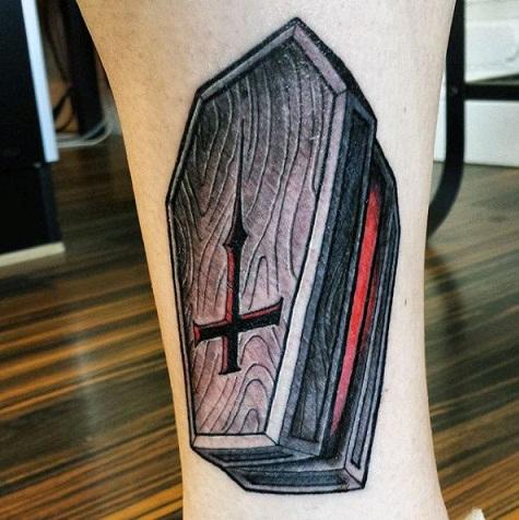 Wooden coffin tattoo