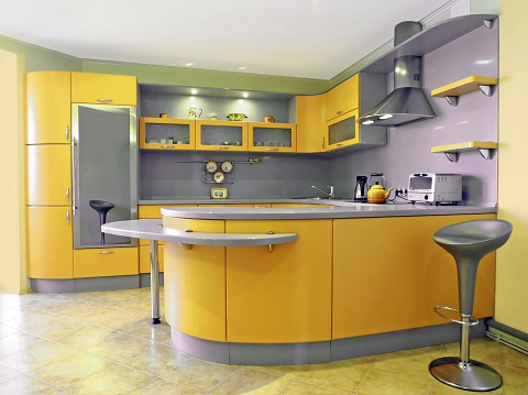 Yellow and Grey Kitchen Interiors