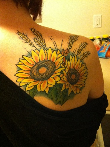 Yellow tattoos in Flower pattern