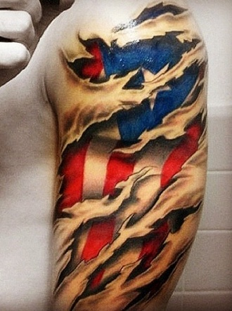 3D flag tattoo