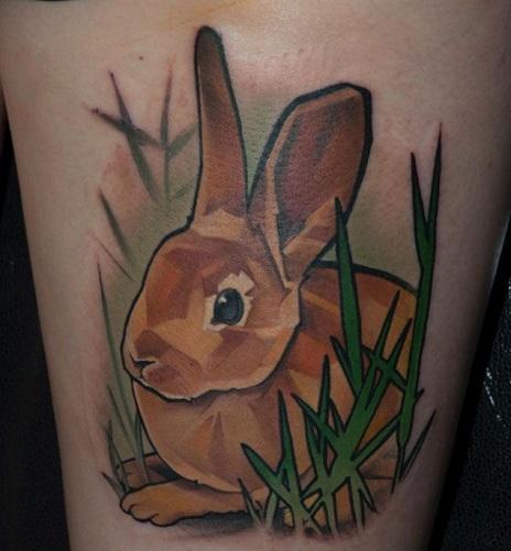Attractive Rabbit Tattoo Design