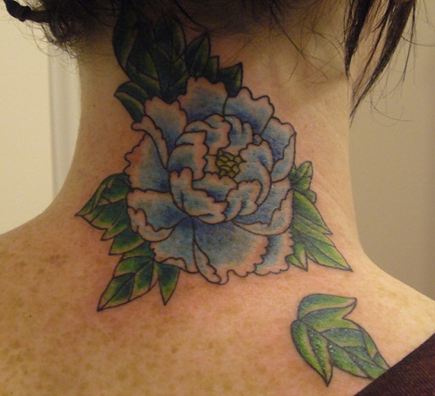 Back neck blue peony flower tattoo