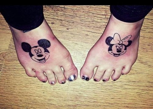 Black Ink Mickey and Minnie Tattoo Design