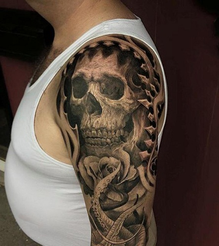 Black and Grey Skull Tattoo for Half Sleeve