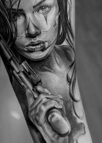 Black and White Portrait Tattoo