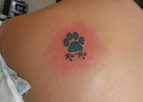 Blue Paw Print Tattoo Designs