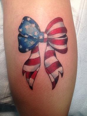 Bow patriotic tattoo