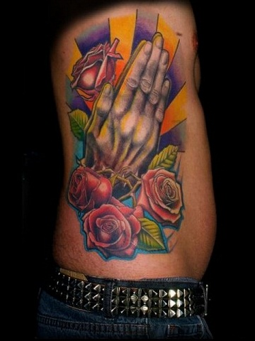 COLORFUL PRAYING HANDS TATTOO