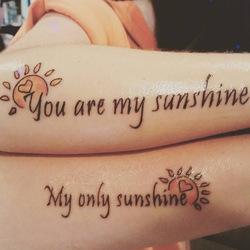 15 Heart Touching Mother Daughter Tattoos - Convectional Mother Daughter Tattoo Design