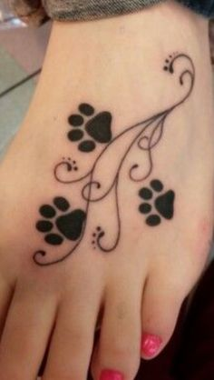 Floral Paw Print Tattoo Designs