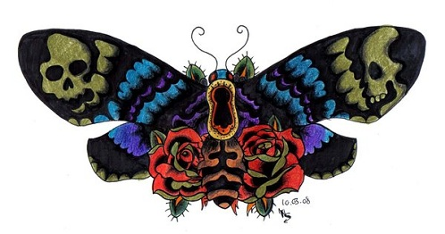 Flower and Moth Tattoo Design