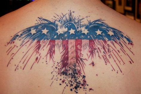 Flying eagle flag tattoo